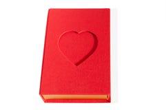 Forma vermelha do livro da caixa com um coração isolado Imagem de Stock