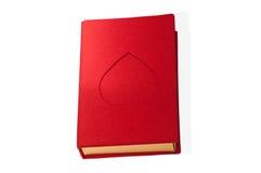 Forma vermelha do livro da caixa com um coração isolado Fotos de Stock Royalty Free