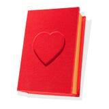 Forma vermelha do livro da caixa com um coração isolado Fotografia de Stock Royalty Free