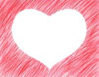 Forma vermelha Hand-drawn do coração ilustração do vetor