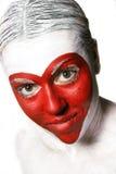Forma vermelha pintada face do coração Fotos de Stock Royalty Free