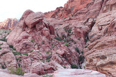 Formación compleja del barranco de las colinas rojas del calicó Foto de archivo libre de regalías