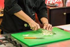 Formación de capacidades culinaria del cuchillo de la escuela Imágenes de archivo libres de regalías