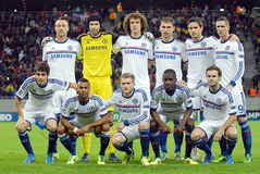 Formación de Chelsea FC representada antes de juego de la liga de campeones de UEFA Imagenes de archivo