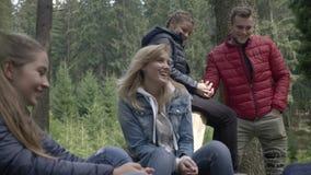 Formación de equipo de colegas jovenes alegres de los amigos que cantan y que bailan en naturaleza en bosque almacen de video
