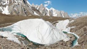 Formación de hielo del glaciar de Baltoro Foto de archivo libre de regalías