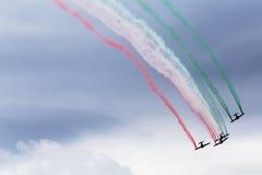 Formación de jets con humo del color Fotografía de archivo