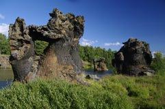 Formación de la lava en Myvatn, Islandia imágenes de archivo libres de regalías