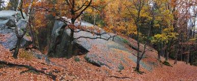 Formación de la montaña de Kralky en las colinas vrchy de Hostynske Imágenes de archivo libres de regalías