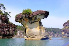 Formación de pila del mar de parque nacional de Bako en Sarawak, Malasia fotos de archivo