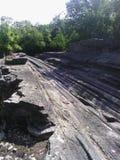 Formación de roca única de la isla de Kelleys fotografía de archivo