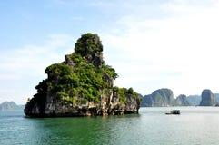 Formación de roca de la piedra caliza en la bahía de Halong, Vietnam Foto de archivo libre de regalías
