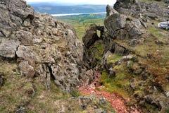 Formación de roca en Dow Crag foto de archivo