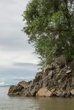 Formación de roca en la boca de la garganta de Sanyati, lago Kariba Fotografía de archivo