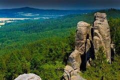 Formación de roca en reserva de naturaleza de LY del ¡de Prachovské Skà imagen de archivo libre de regalías