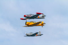 Formación de tres aviones del FIO Imagen de archivo