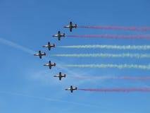 Formación del aeroplano en el cielo Fotos de archivo libres de regalías