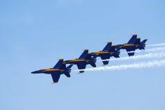 Formación del delta de los ángeles azules de marina de los E.E.U.U. Fotos de archivo