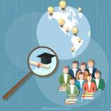 Formación a distancia de la educación del grupo del diploma en línea de los estudiantes Fotografía de archivo libre de regalías