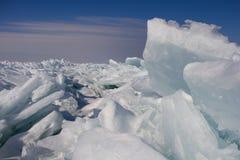 Formaciones de hielo en el lago Mighigan imagenes de archivo