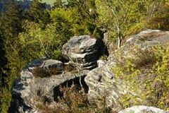 Formaciones de la piedra arenisca en bosque Foto de archivo libre de regalías