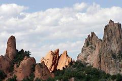 Formaciones de roca elevadas en el jardín del parque de estado de dioses (Colorado). fotografía de archivo libre de regalías