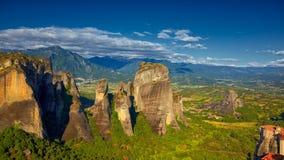Formaciones de roca en Meteora Foto de archivo libre de regalías