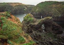 Formaciones de roca erosionadas interesantes en Mendocino, costa de California Foto de archivo libre de regalías