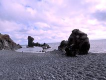 Formaciones de roca de Islandia Londrangar 2017 Foto de archivo libre de regalías