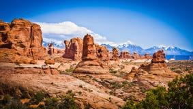 Formaciones escénicas de la piedra arenisca de arcos parque nacional, Utah, los E.E.U.U. Fotografía de archivo
