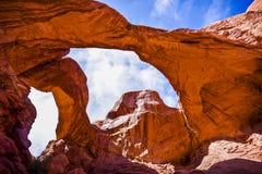 Formaciones escénicas de la piedra arenisca de arcos parque nacional, Utah, los E.E.U.U. Foto de archivo