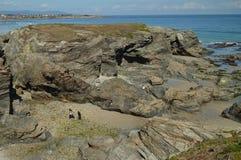 Formaciones geológicas en la orilla de la playa de las catedrales en Ribadeo 1 DE AGOSTO DE 2015 Geología, paisajes, viaje, imagenes de archivo