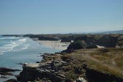 Formaciones geológicas en la orilla de la playa de las catedrales en Ribadeo 1 DE AGOSTO DE 2015 Geología, paisajes, viaje, imagen de archivo libre de regalías