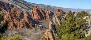 Formaciones rojas de la fuente de la roca en el parque de estado de Roxborough Imágenes de archivo libres de regalías