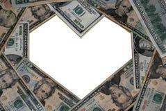 formad dollarramhjärta royaltyfria bilder