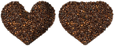 Formad grillad hjärta för kaffebönor Arkivfoton