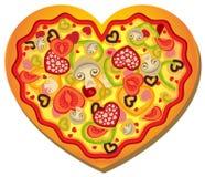 formad hjärtapizza royaltyfri illustrationer