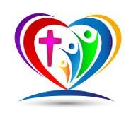 Formad logo för familjkyrkaförälskelse facklig hjärta Arkivfoton