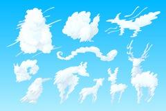 Formad molnuppsättning för vektor djur royaltyfri illustrationer