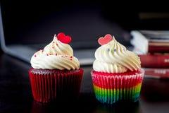 Formad muffin för parvalentin hjärta Royaltyfri Fotografi