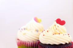 Formad muffin för parvalentin hjärta Royaltyfria Bilder