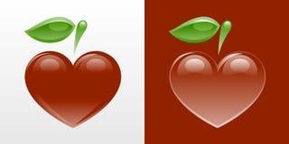 formad äpplehjärta Arkivbild