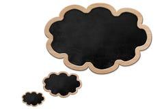 Formad svart tavla för tanke bubbla Arkivbild