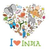 Formad uppsättning av Indien hjärta stock illustrationer