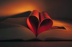 formad valentin för bokhjärta s Arkivfoto