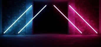 Formade den glödande triangeln Sci Fi för modernt futuristiskt neon purpurfärgade blåa glödande rörljus med tomt utrymme på refle stock illustrationer