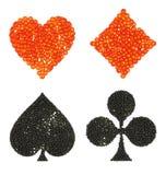 formade dräkter för kort kaviar stock illustrationer