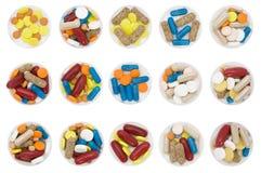 formade färgade olikt pills Royaltyfria Foton