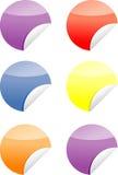 formade färgrika etiketter för cirkel etiketter Arkivfoto