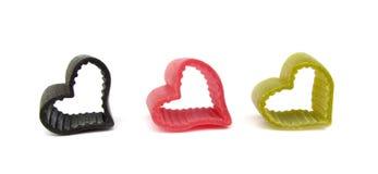 Formade italiensk hjärta för pasta Arkivbild
